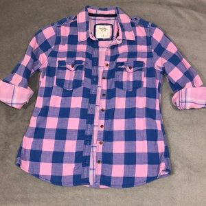 Abercrombie pink & blue flannel shirt, size M